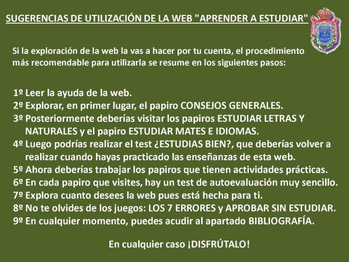 Utilización Web Aprender a estudiar